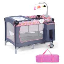 Costzon Baby Playard, 3 in 1 Portable Playpen with Bassinet, Travel Bassinet Bed, Foldable Toddler Bassinet Bed with Music Box, Wheels & Brake, Basket, Oxford Carry Bag for Boys Girls (Pink)
