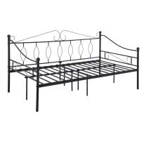 Dorafair Twin Size Metal Daybed Frame Modern Black Platform Bed Base with Headboard and Footboard Premium Stable Metal Slats Mattress Foundation No Box Spring Needed with Storage Space