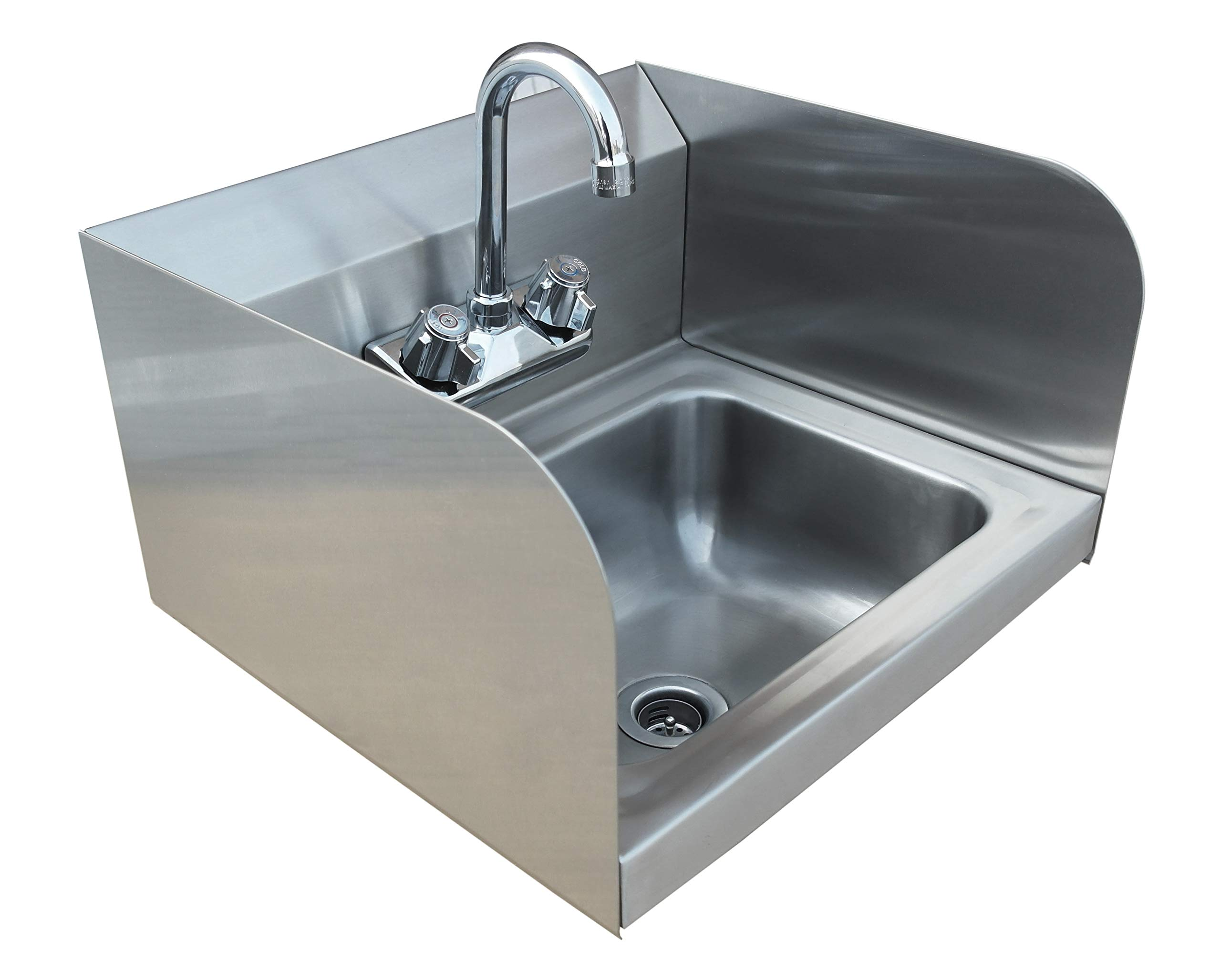 Stortec Ss1012bc Commercial Restaurant Kitchen Stainless Steel Wall Mount Hand Wash And Prep Sink With Splash Guards