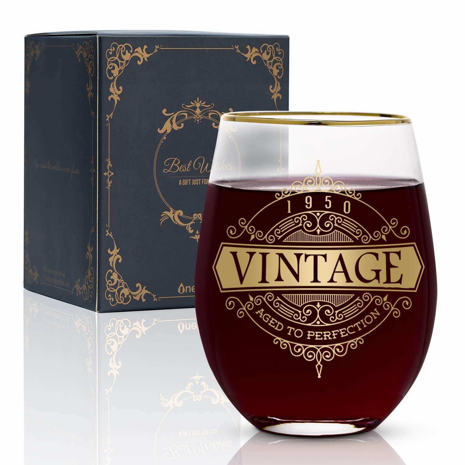 Onebttl 70th Vintage Birthday for Women and Men-17oz Wine Glass-Aged to Perfection 1950 Birthday Decorations-70th Anniversary Ideas for Her, Mom, Dad, Husband, Wife, Grandma, Grandpa