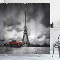"Ambesonne Eiffel Tower Shower Curtain, Image of Eiffel Tower Paris France Vintage Car Street Dark Clouds, Cloth Fabric Bathroom Decor Set with Hooks, 70"" Long, Black White Red"