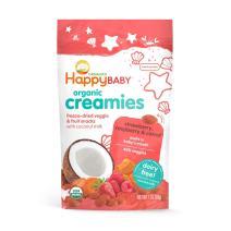 Happy Baby Organic Creamies Freeze-Dried Veggie & Fruit Snacks with Coconut Milk Strawberry Raspberry & Carrot, 1 Ounce Bag Dairy Free Baby or Toddler Snacks, Organic Non-GMO Gluten Free Kosher