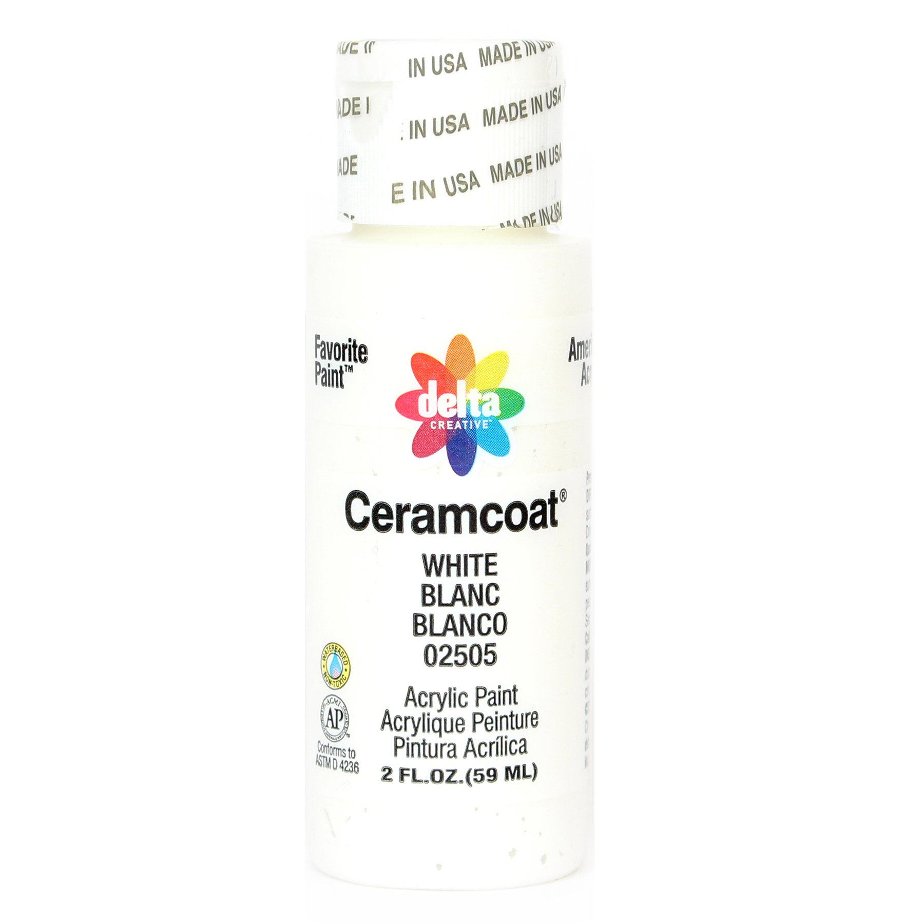 Delta Creative Ceramcoat Acrylic Paint in Assorted Colors (2 oz), 2505, White