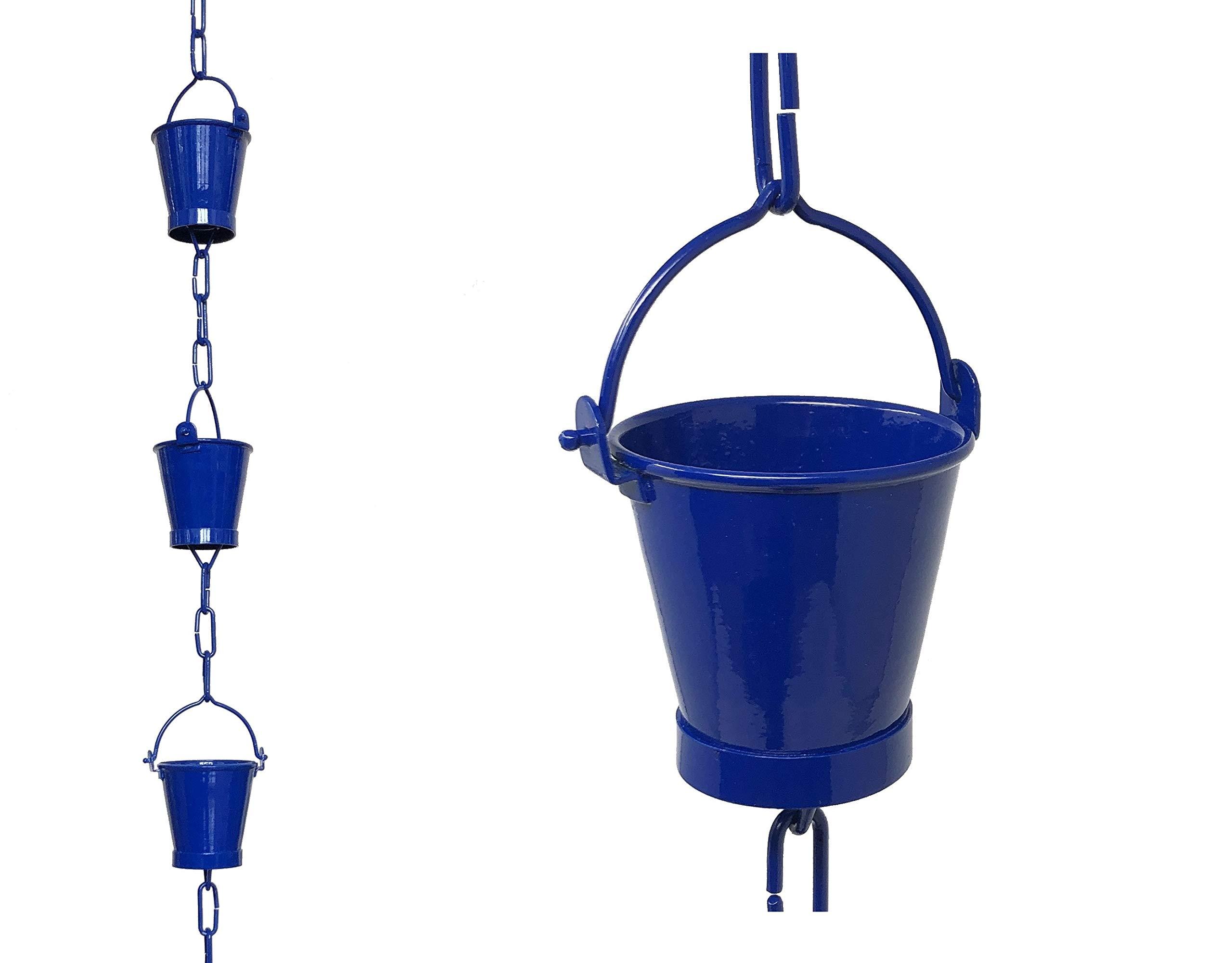 U-nitt 8.5 ft Rain Chain for Gutter: Bucket Cup; Blue Powder Coated Aluminum #8146BLU