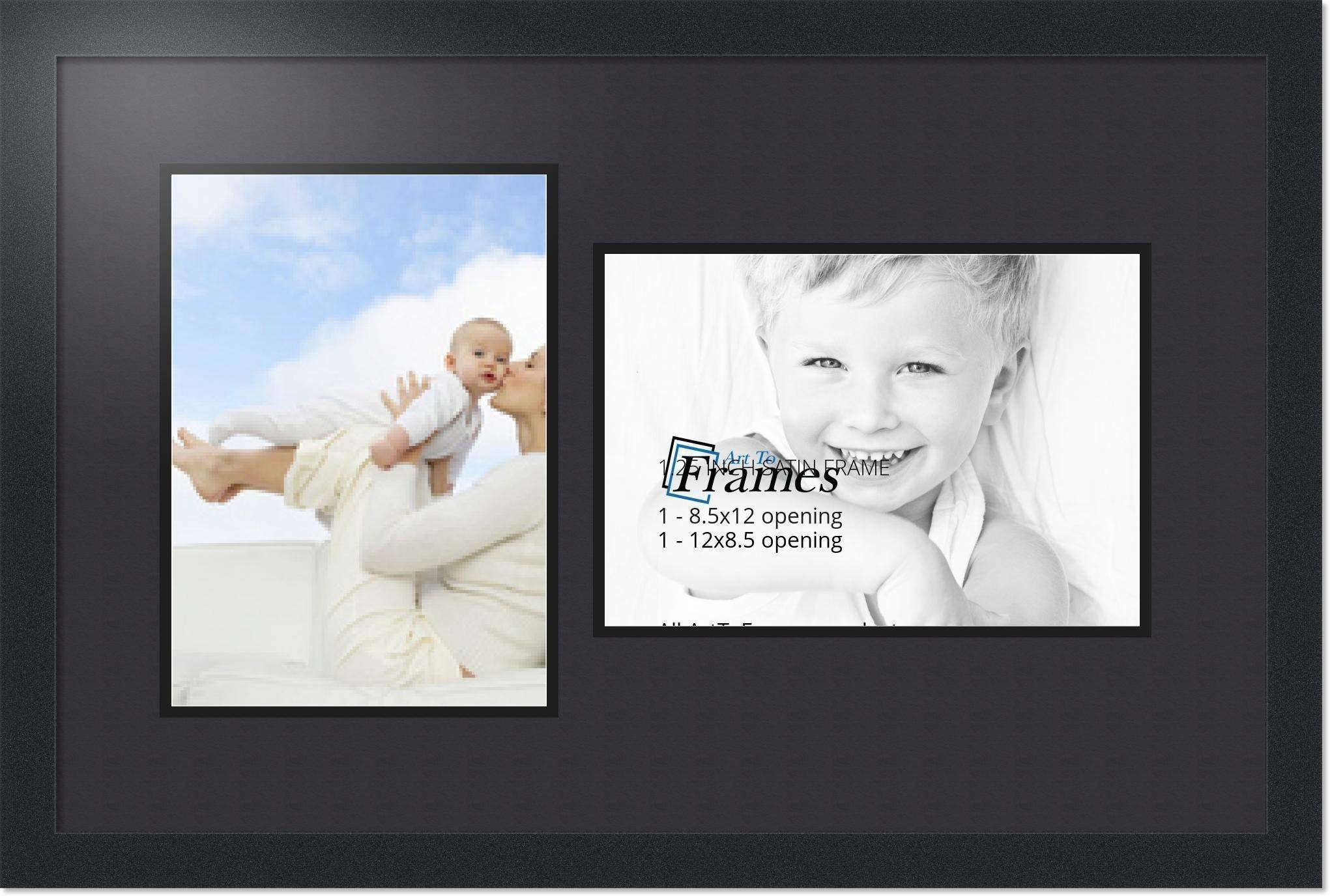 ArtToFrames Collage Photo Frame Double Mat with 2 - 8.5x12 Openings and Satin Black Frame