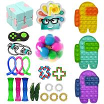 OLOPE 30Pcs Sensory Fidget Toy Set, Fidget Pack Sensory Relieves Stress Anxiety Fidget Toy for Kids Adults,Special Toys Assortment for Birthday Party Favors, Classroom Rewards Prizes (I)