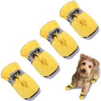 """TEOZZO Dog Boots Paw Protector, Anti-Slip Winter Dog Shoes with Reflective Straps for Small Medium Large Dogs 4PCS(Size 3: 1.77""""x1.37"""")"""
