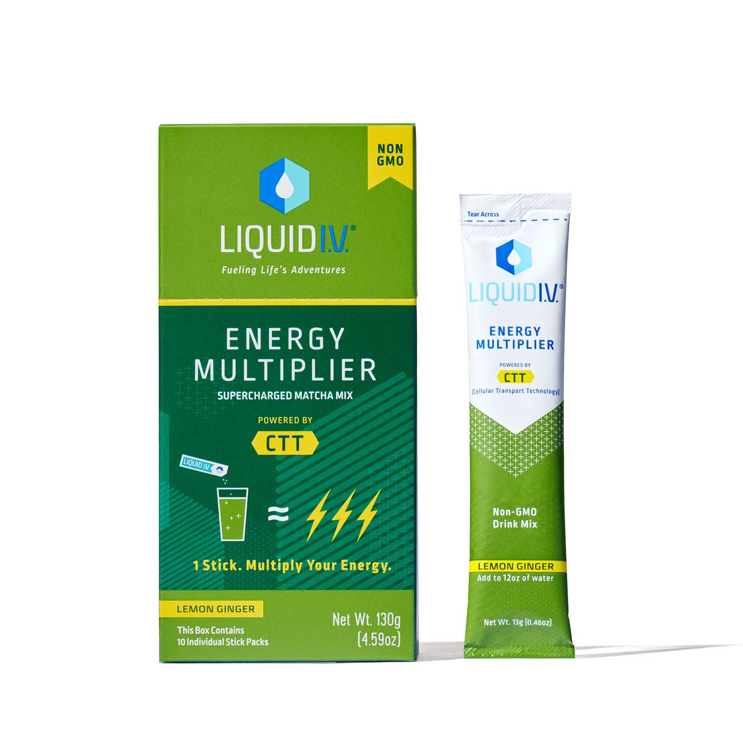 Liquid I.V. Energy Multiplier, Super-Charged Matcha Mix, 9 Essential Vitamins, Natural Caffeine, Easy Open Packets, Supplement Drink Mix, (Lemon Ginger) (120 Count)