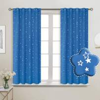 BGment Rod Pocket and Back Tab Blackout Curtains for Kids Bedroom - Sparkly Star Printed Thermal Insulated Room Darkening Curtain for Nursery, 38 x 45 Inch, 2 Panels, Blue