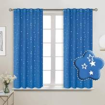 BGment Rod Pocket and Back Tab Blackout Curtains for Kids Bedroom - Sparkly Star Printed Thermal Insulated Room Darkening Curtain for Nursery, 38 x 54 Inch, 2 Panels, Blue