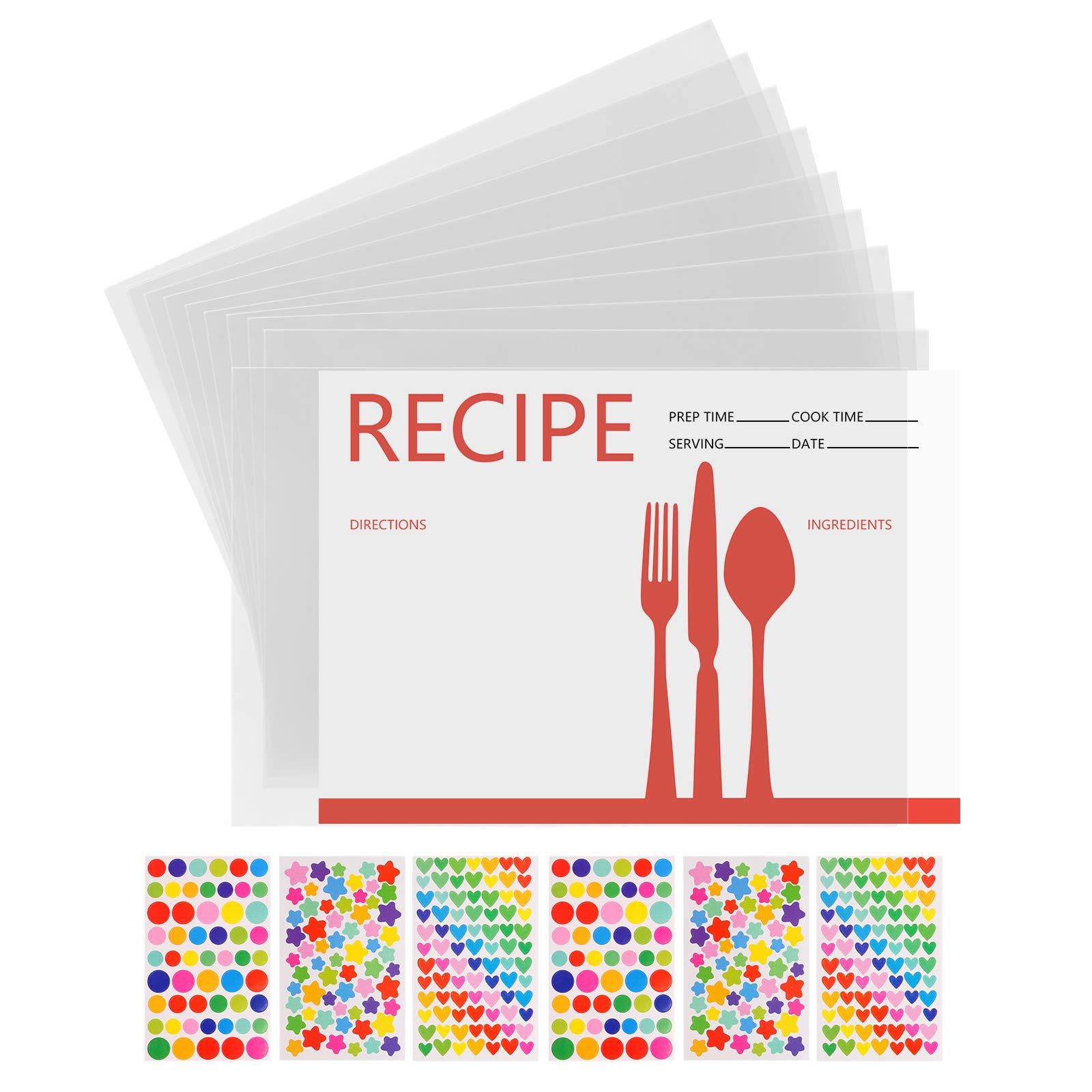 ozozo Recipe Card Protectors 4x6-100 Pack 4x6 Recipe Card Protectors, Recipe Card Covers,Plastic Sleeves for 4x6 Recipe Card