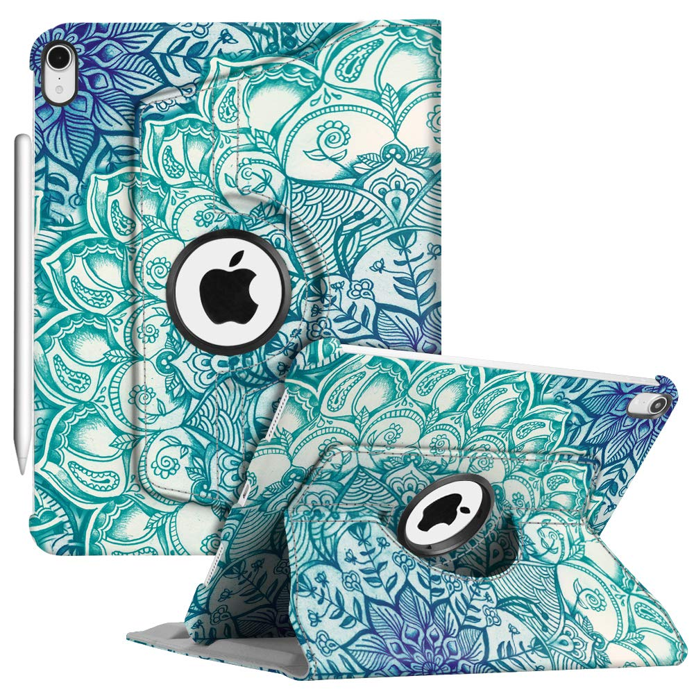 """Fintie Case with Built-in Pencil Holder for iPad Pro 11"""" 2018 [Support 2nd Gen Pencil Charging Mode] - 360 Degree Rotating Stand Protective Cover with Auto Sleep/Wake, Emerald Illusions"""