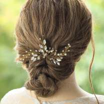 Drecode Bride Wedding Hair Pins Gold Crystal Pearl Hairpin Glitter Rhinestones Bridal Headpieces Hair Accessories for Women and Girls