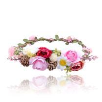 AWAYTR Bohemia Flower Crown Headband - Exquisite Pinecone Leaf Berry Flower Headband Flower Halo Wreath (Rose red+pink)