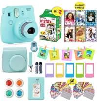 Fujifilm Instax Mini 9 Camera Bundle (Ice Blue) + Instant Camera Film 20 Sheets + Instax Case + Instax Camera Accessories Bundle, 1 Albums, 4 Color Lenses, Selfie Lens, 5 Desk Frames + 60 Stickers