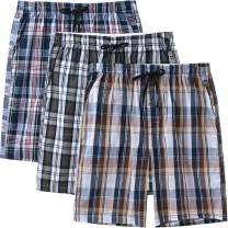 MoFiz Men's Sleepwear Shorts Pajama Bottom Lounge Short Plaid Button Open Fly 3Pack
