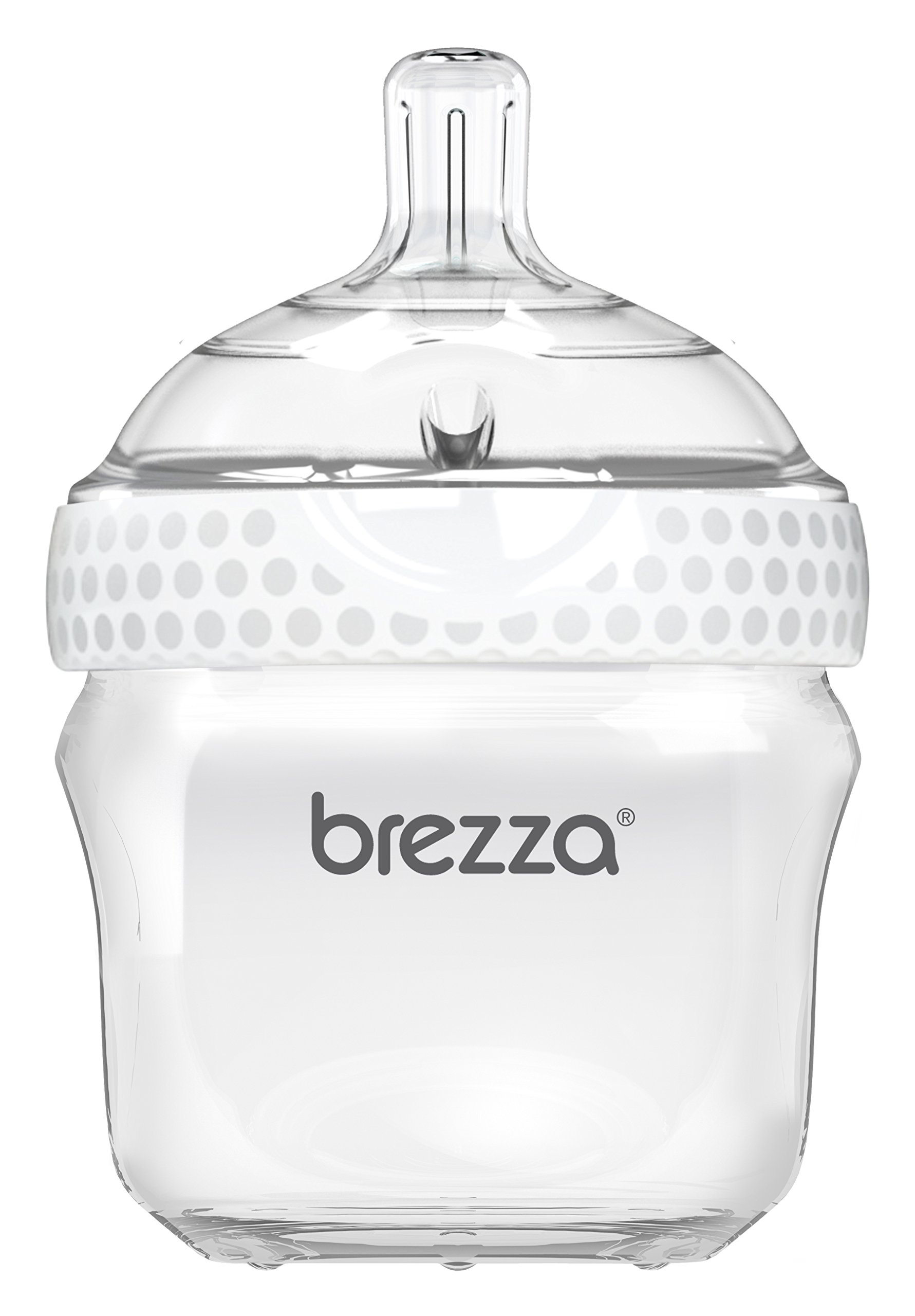 Baby Brezza Two Piece Natural Baby Bottle with Lid - Ergonomic, Wide Neck Design Makes it The Easiest to Clean - Modern Look - Anti-Colic - BPA Free Plastic - White - 5 Ounce - 1 Bottle