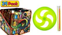 JA-RU Glowing Party Flying Disc with Glow Sticks (Pack of 24 Bulk) Frisbee Glow in The Dark Party Supplies Favors. Light Up Toys | Item #87-24