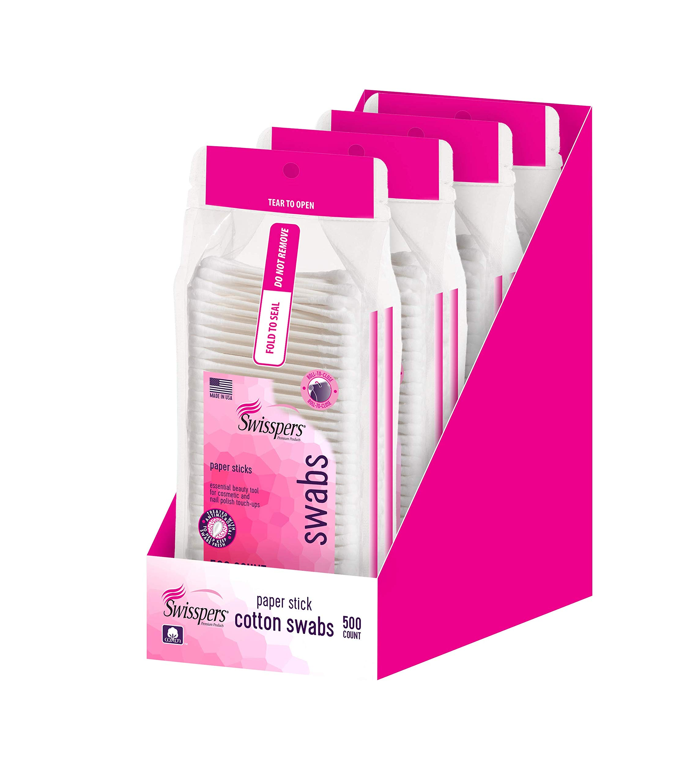 Swisspers Premium Cotton Swabs, 100% Pure Cotton Tips, White Paper Stick Swabs, Re-Closable Pouch, 500-Count Packs, 4 Packs (2000 Swabs Total)