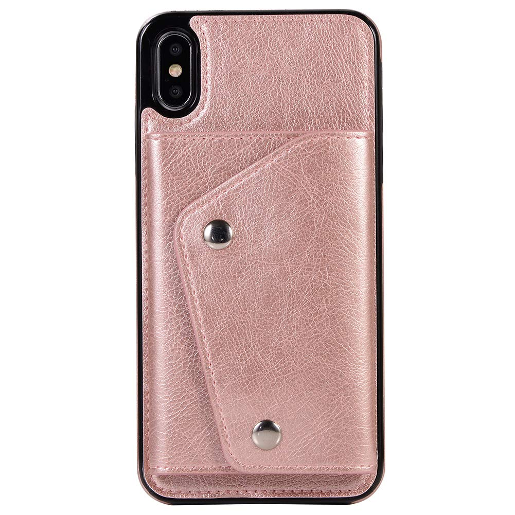 Case Compatible iPhone 10S, 5.8 inches, PU Leather Wallet Slim Back Case with Wrist Strap Rose Gold Case