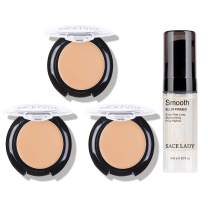 3 Pack Full Coverage Concealer Cream Makeup & 1PC Pore Minimizer Face Foundation Primer, Waterproof Matte Smooth Concealer Corrector for Dark Spot Under Eye Circles, 18g/0.6Oz (#30 Light Natural)