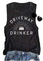 BOMYTAO Women's Driveway Drinker Tank Top Funny Wine Sleeveless Graphic T Shirt Drink Lovers Vest Tees