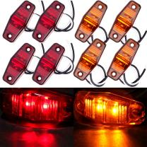 cciyu 4Pcs Red +4Pcs Amber LED Light 2 Diode Universal Surface Mount Clearance Side Marker Trailer