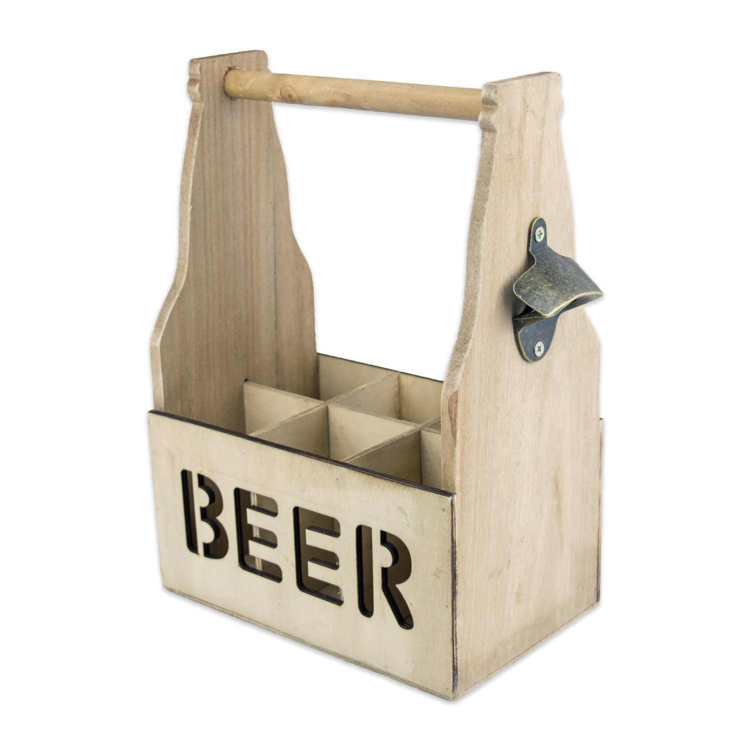 DII Rustic Wooden Beer and Soda Carrier 6 Pack Carrier For Home Brewing, Man Cave, Camping, Party, and Daily Use