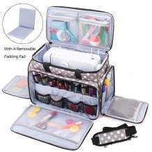 Luxja Sewing Machine Carrying Bag with Removable Padding Pad, Travel Case for Sewing Machine and Accessories (Fit for Most Standard Sewing Machines), Gray Dots (Bag Only)