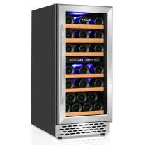 Wine Cooler Nictemaw 32 Bottle Dual Zone Wine Fridge, Fast Cooling Low Noise and No Fog Wine Refrigerator with Digital Temp Control Screen (40°F-65°F) For Red, White, Champagne or Sparkling Wine Built-in or Freestanding Style
