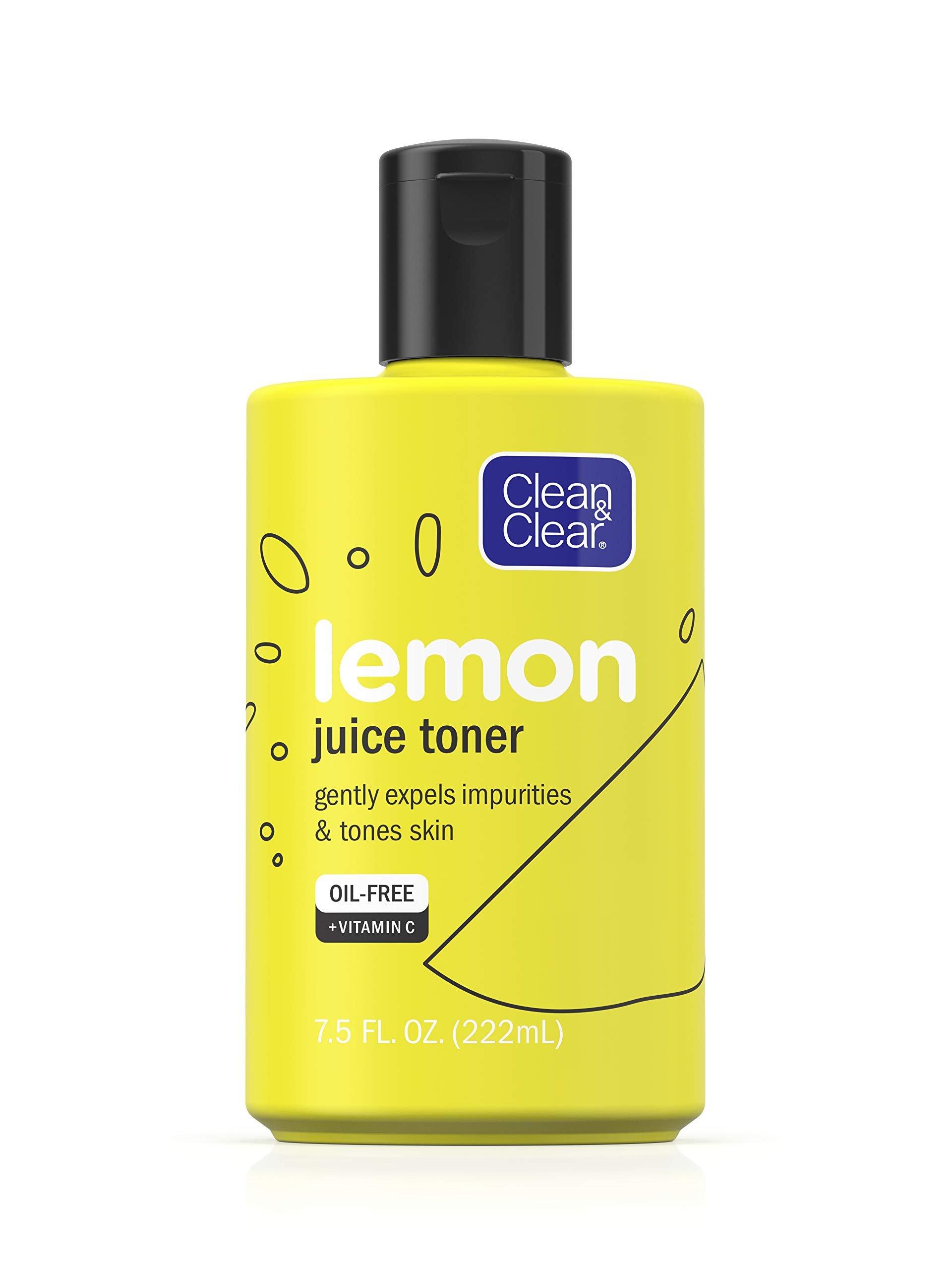 CLEAN & CLEAR Lemon Juice Facial Toner with Lemon Extract & Vitamin C, Alcohol-Free Cleansing Face Toner 7.5 oz (Pack of 2)