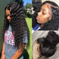 Water Wave lace Front Wigs with Baby Hair Pre Plucked 100% Unprocessed Brazilian Water Wave Lace Front Wigs Human Hair 150% Density Full End Lace Wigs Natural Color for Black Women