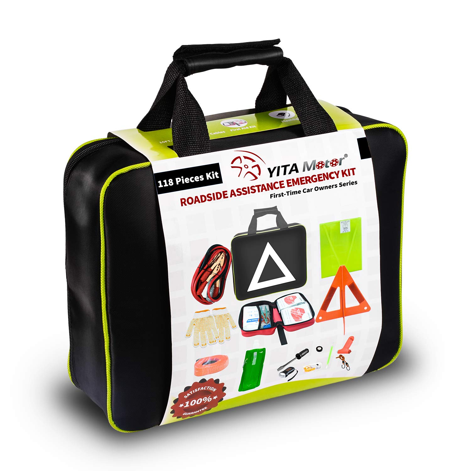 YITAMOTOR Car Emergency Kit Care First Aid Roadside Safety Toolkit with  Jumper Cables, Tow Strap, LED Flash Light, Cleansing Wipes, Vest, Bandages  and ...