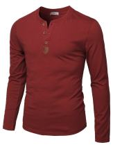 H2H Mens Casual Slim Fit Henley T-Shirt Long Sleeve