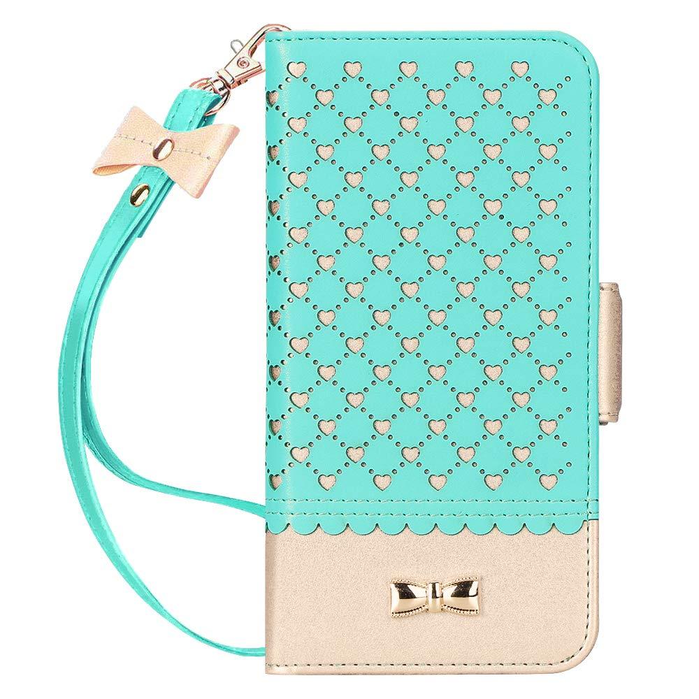 Jasilon iPhone 11 Case Cover 6.1'' 2019, [Deluxe Love] Premium Leather Wallet case with [Card Holder, Strap, Kickstand, Mirror], Flip Folio iPhone 11 Phone Case for Women-MintGreen