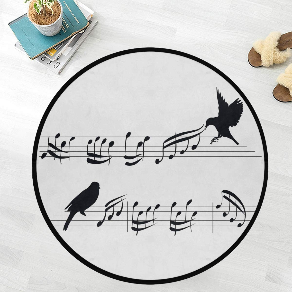 Naanle Musical Bird Anti Fatigue Round Area Rug, Black and White Non Slip Absorbent Comfort Round Rug Floor Carpet Yoga Mat for Entryway Living Room Bedroom Sofa Home Decor (3' in Diameter)