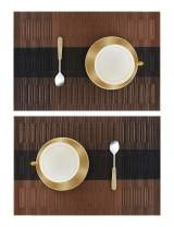 Sinolodo Dining Table Placemats Set of 2, Crossweave Woven Vinyl Non-Slip Insulation Placemat Washable Table Mats