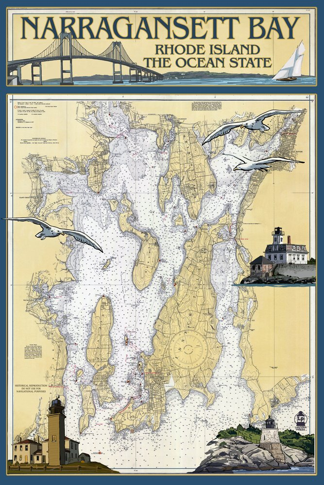 Narragansett Bay, Rhode Island - Nautical Chart (24x36 Giclee Gallery Print, Wall Decor Travel Poster)
