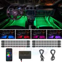 LEDGlow 8pc Bluetooth Multi-Color LED Interior Footwell Underdash Neon Lighting Kit for Cars & Trucks - Smartphone App - Create Any Color - Courtesy Lights - Music Mode - Control Box - Universal
