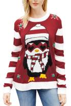 Viottiset Women's Ugly Christmas Sweater Animal Pattern Xmas Pullover Knitted Jumper