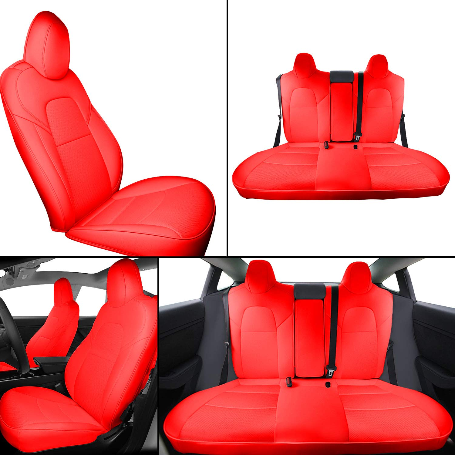 Interior Pro Model 3 Car Seat Cover, Seats Cushions PU Leather Custom for Tesla Model 3 2016-2019 All Season 5-Seat Protectors Pad Mat Leatherette Airbag Waterproof Wear-Proof Anti-Slip (Red)