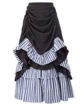 Women Vintage Striped Gothic Victorian Ruffled Skirt Renaissance Costume