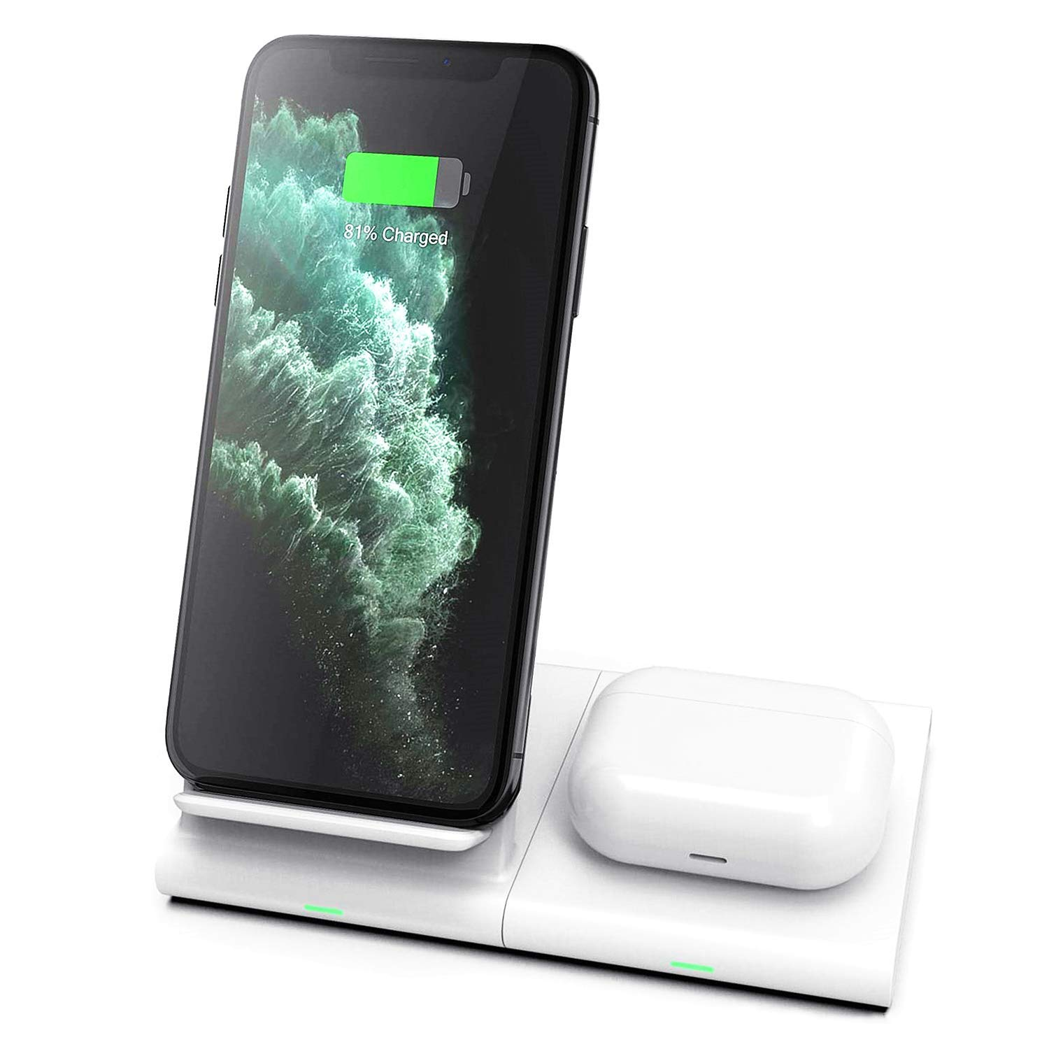 Hoidokly Dual 2 in 1 Wireless Charger Stand Qi 10W Fast Charging Station for Samsung Galaxy S20/S20 ultra/S10/S10e/S9/S8/Note 10/9/8, Galaxy Watch/Buds,iPhone 11/Pro Max/XR/XS/X/8/8 Plus/Airpods Pro