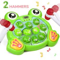 RACPNEL Whack a Frog Game, Baby Fun Interactive Toys, Early Learning and Developmental Toys for Baby and Toddler with Sounds and Light, Great Gift for Kids, Boys and Girls Age 2 3 4 5 6, 2 Hammers
