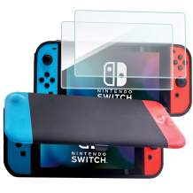 ProCase Nintendo Switch Flip Cover with 2 Pack Tempered Glass Screen Protectors, Slim Protective Flip Case with Magnetically Detachable Front Cover for Nintendo Switch 2017 -Classic