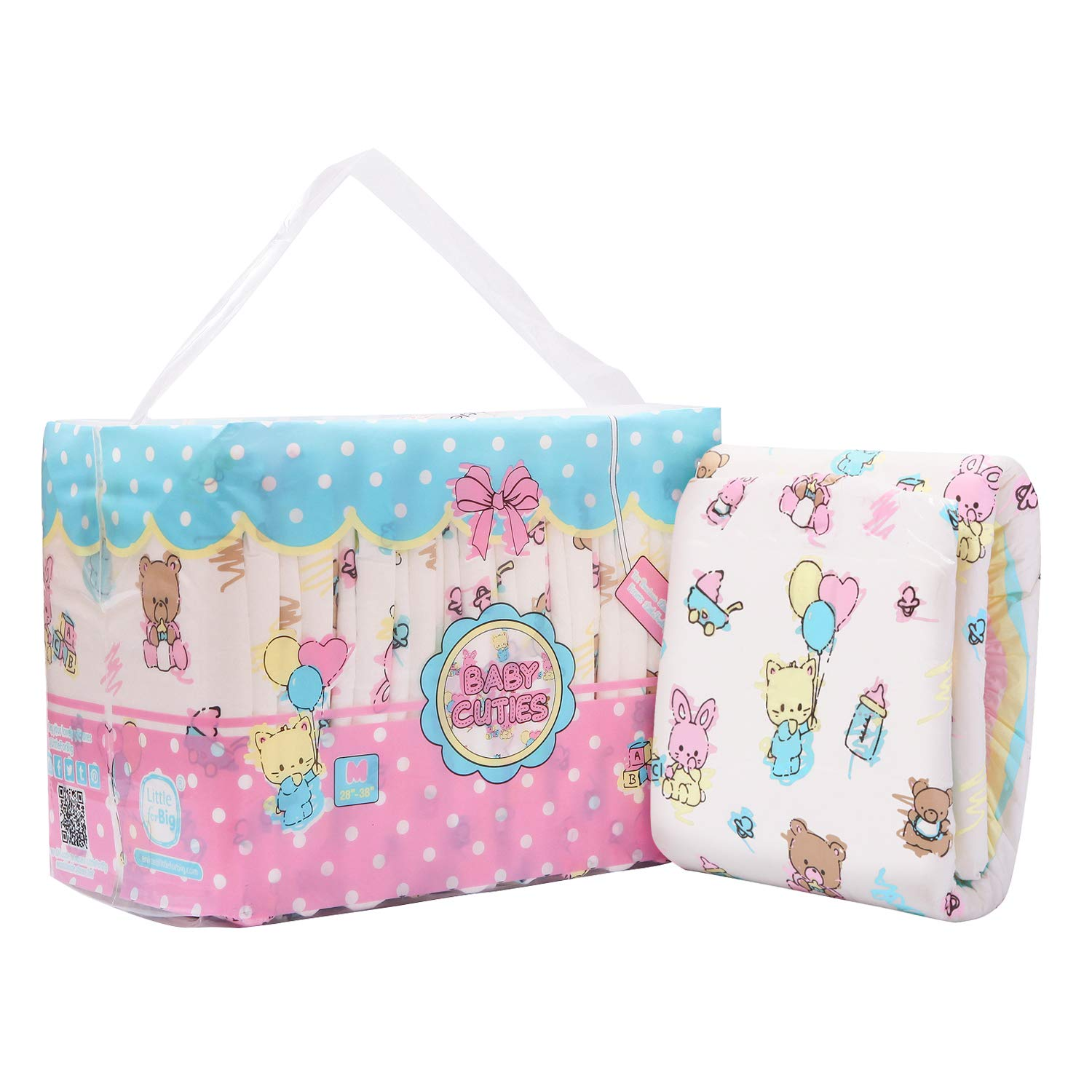 Littleforbig Printed Adult Brief Diapers Adult Baby Diaper Lover ABDL 10 Pieces - Baby Cuties(M)