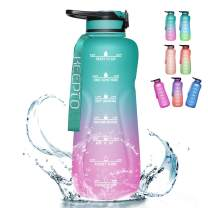 KEEPTO Half Gallon Water Bottle with Straw - Motivational Leakproof Water Bottle, BPA Free Water Jug Wide Mouth Water Bottle(Included Straw Brush)