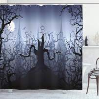 Halloween Decorations Shower Curtain by Ambesonne, Darkness in Forest Swirling Spooky Branches Nature Trick or Treat, Fabric Bathroom Decor Set with Hooks, 70 Inches, Grey Black