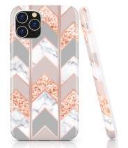 BAISRKE iPhone 11 Pro Max Case, Shiny Rose Gold Wave Geometric Marble Case Slim Soft TPU Rubber Bumper Silicone Protective Phone Case Cover for iPhone 11 Pro Max 6.5 inch (2019) [Pink]