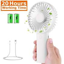 Tutuko Portable Handheld Fan - Mini Personal Fan, USB Rechargeable 4000mAh Battery Operated Fan, 7-20 Hours Working Time & 3 Speed Level, Quiet Face Fan for Desk, Office, Outdoor & Travel